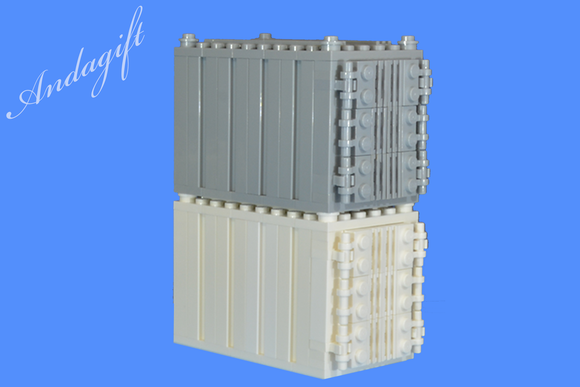 LEGO set of 2 shipping containers in grey and white for freight cargo train and road - andagift