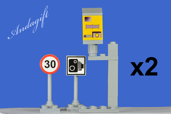 City car speed camera double set with 30 mile limit and camera road signs - andagift