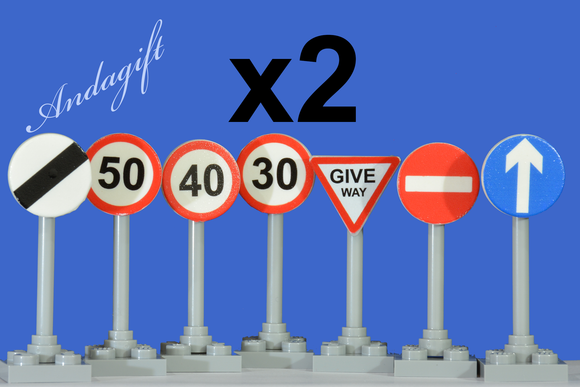 Lego city car road signs with no entry, one way, give way 30 40 50 road signs Set of 2 - andagift