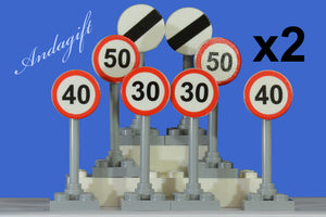 Lego city car road signs speed limit national, 30, 40, 50  four of each sign (16 signs in total) - andagift