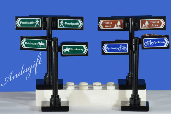 LEGO signs set of 8 footpath, bridleway, picnic area, cycleway - andagift
