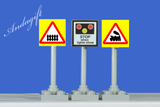 Lego City train car road signs 2xLEVEL CROSSING set with barriers and signs
