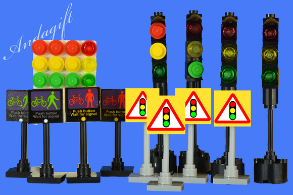 LEGO set of 4 traffic lights inc 4 signs for pedestrain crossing and warning signs - andagift