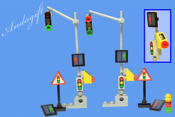 LEGO traffic lights european French style overhead traffic lights road signs - andagift