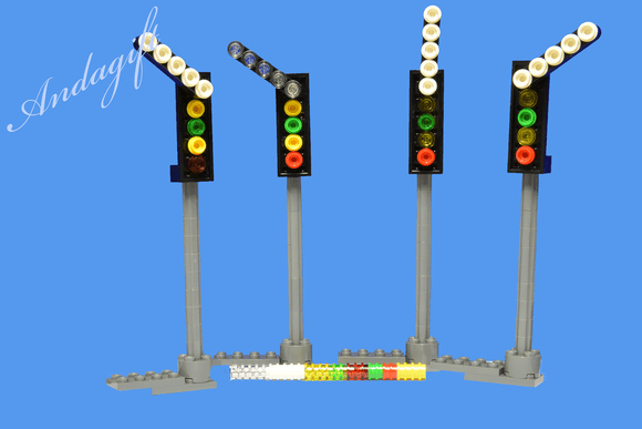 LEGO 4 NEW custom train signals, modern 4 high lights with a 5 light direction train signal on top. - andagift