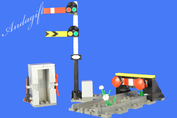 LEGO straight track train buffer end of track and semaphore train signal - andagift