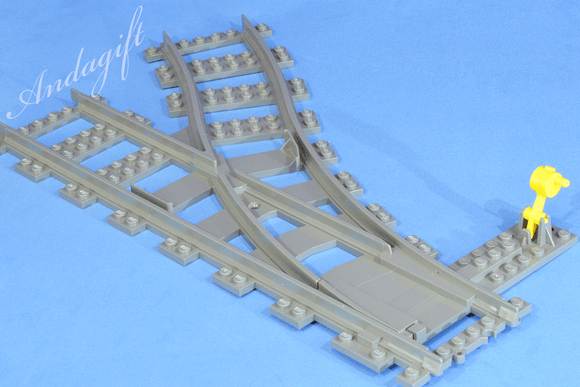 LEGO train track points left and right switch point RC junction siding junction - andagift