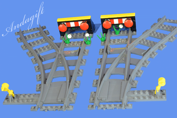 LEGO train track points left and right switch point+ 2 buffers junction siding - andagift