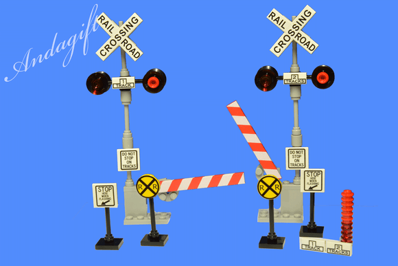 LEGO train railroad crossing American USA style level crossing for train - andagift
