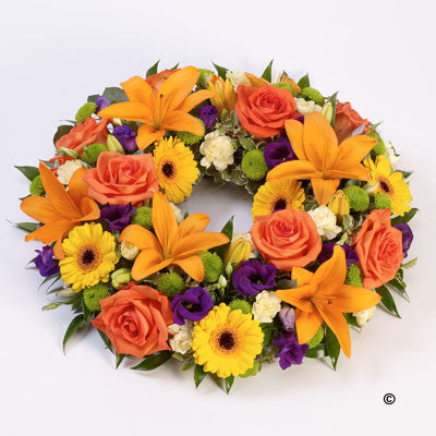 Rose & Lily Wreath - Vibrant - Ramsbothams Florists Milton Keynes