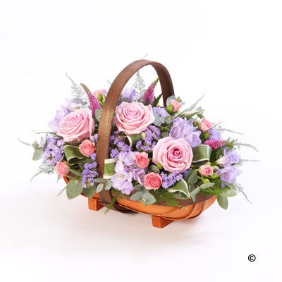 Mixed Basket - Pink and Lilac - Ramsbothams Florists Milton Keynes