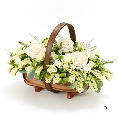 Mixed Basket - Cream and White - Ramsbothams Florists Milton Keynes