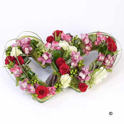 Double Heart Tribute - Mixed - Ramsbothams Florists Milton Keynes