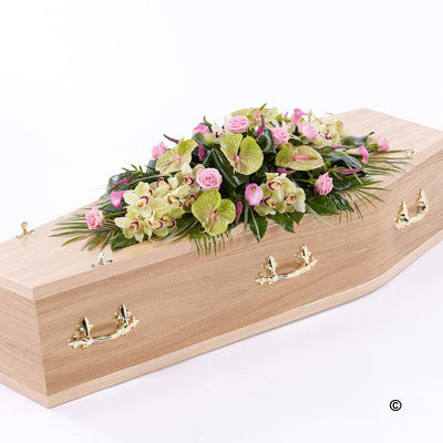 Rose, Orchid and Calla Lily Casket Spray - Ramsbothams Florists Milton Keynes