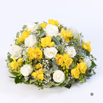 Rose & Freesia Posy - Yellow & White - Ramsbothams Florists Milton Keynes