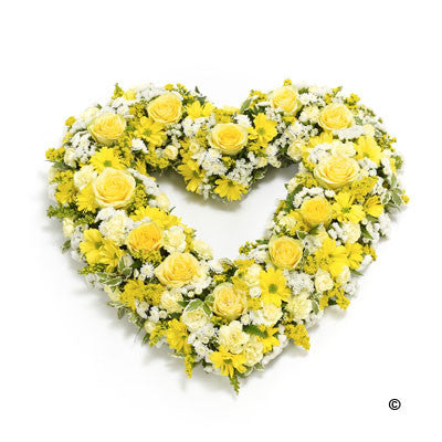 Open Heart - Yellow & White - Ramsbothams Florists Milton Keynes