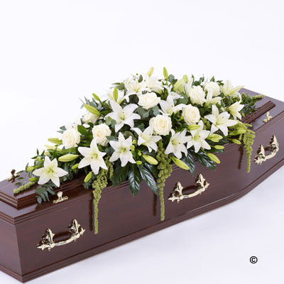 Lily and Rose Casket Spray - White - Ramsbothams Florists Milton Keynes