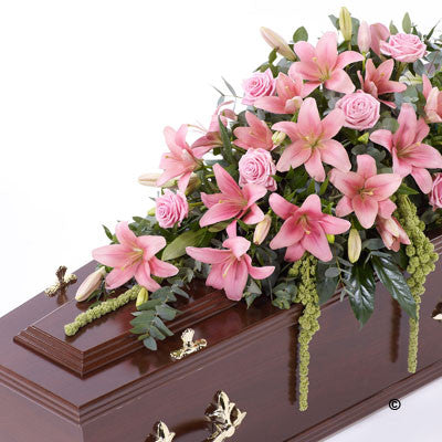 Lily and Rose Casket Spray - Pink - Ramsbothams Florists Milton Keynes