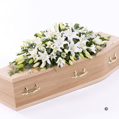 Lily Casket Spray - White - Ramsbothams Florists Milton Keynes
