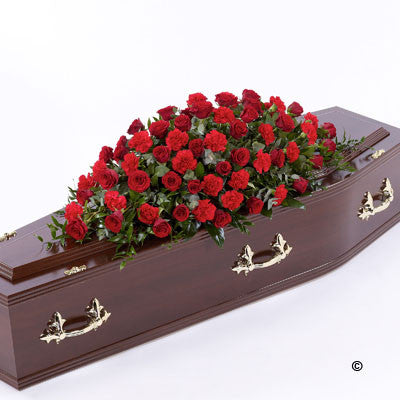 Rose and Carnation Casket Spray - Red - Ramsbothams Florists Milton Keynes