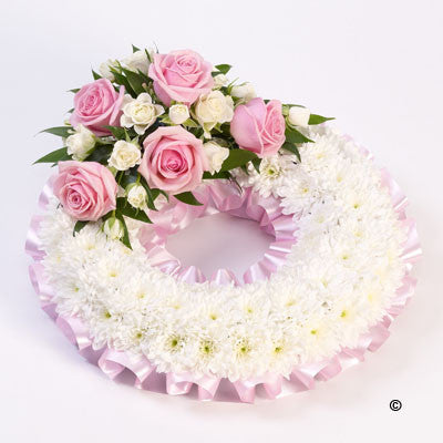 Traditional Wreath - White and Pink - Ramsbothams Florists Milton Keynes