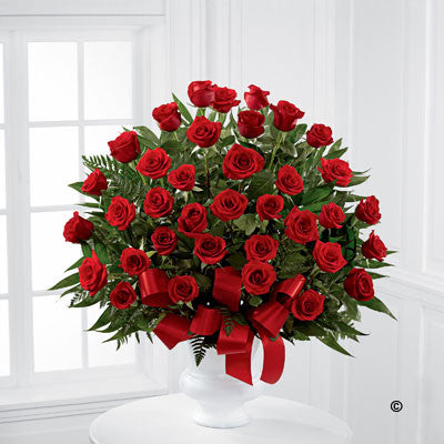 Red Rose Service Arrangement - Ramsbothams Florists Milton Keynes