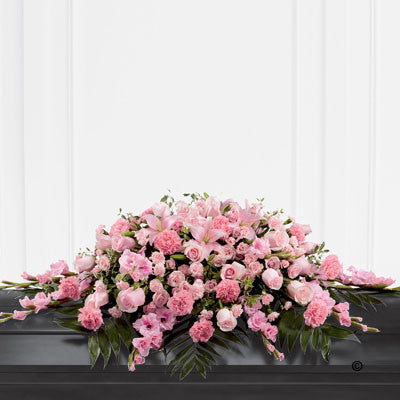Mixed Casket Spray - Pink - Ramsbothams Florists Milton Keynes