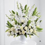 White and Green Service Arrangement - Ramsbothams Florists Milton Keynes