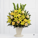 Yellow Lily and Rose Service Arrangement - Ramsbothams Florists Milton Keynes