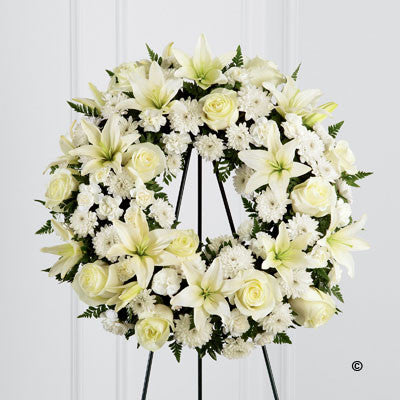 White Tribute Wreath - Ramsbothams Florists Milton Keynes