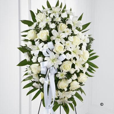Standing Spray - White - Ramsbothams Florists Milton Keynes