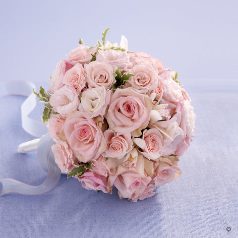 Soft Pink Rose & Orchid Bridal Bouquet - Ramsbothams Florists Milton Keynes