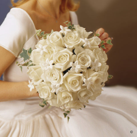 Graceful Rose & Stephanotis Scented Bridal Bouquet - Ramsbothams Florists Milton Keynes