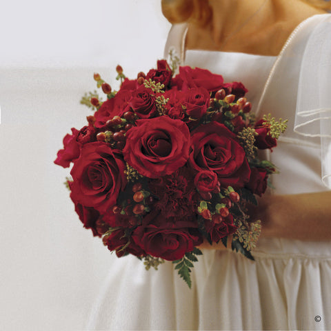 Scarlet Rose & Berry Bridesmaid Bouquet - Ramsbothams Florists Milton Keynes