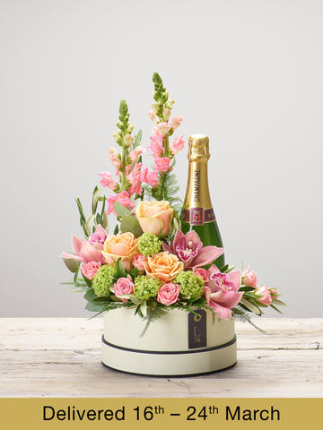 Magnificent Mix Hatbox with Champagne - Ramsbothams Florists Milton Keynes