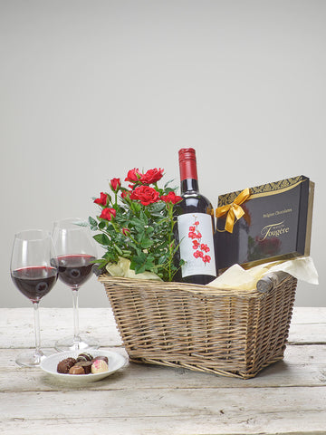 Luxury Red Wine Gift Basket - Ramsbothams Florists Milton Keynes