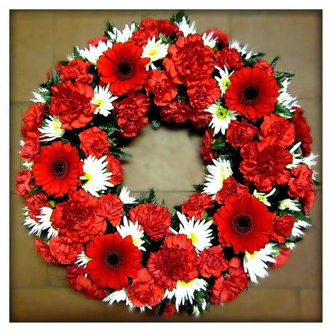 Red & White Wreath - Ramsbothams Florists Milton Keynes
