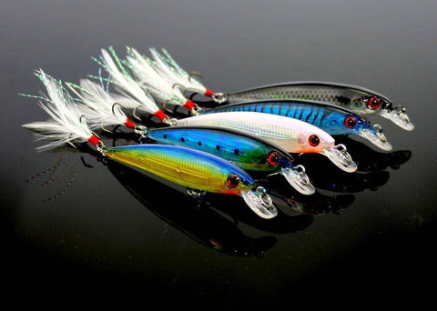 10pcs Fishing Lure Minnow Wobblers Hard Bait with Feather Hooks