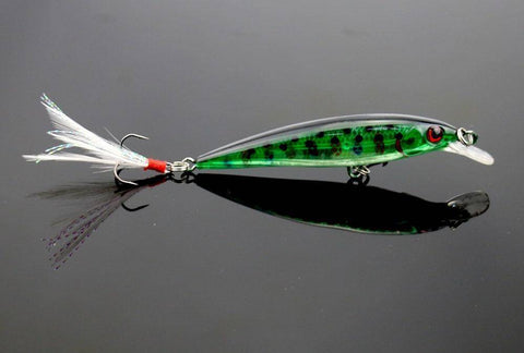 Image of 10pcs Fishing Lure Minnow Wobblers Hard Bait with Feather Hooks