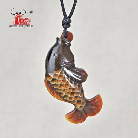 Image of Handmade Carved Natural Yak Horn The Fish Pendant