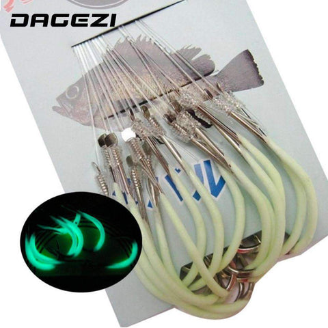 DAGEZI 30pcs/pack Luminous Fishing Hooks