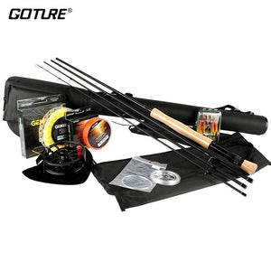 Fly Fishing Kit with Fishing Lures and Lines Rod Combo