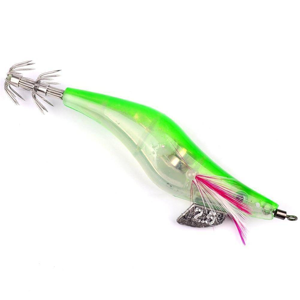 Dynamic Outdoor Store Fishing Lures Flashing LED Fishing Lure Flash Light 10cm Minnow Luminous Squid Jig Shrimp Bait Night Fishing Lure Random Color Delivery 1PC