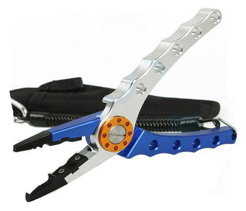 Fish-Trapp Accessories Blue and silver Stainless Steel Multi-functional Fishing Pliers