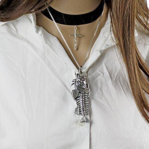 Fish-Trapp Chain Fish Bone Pendant Necklace