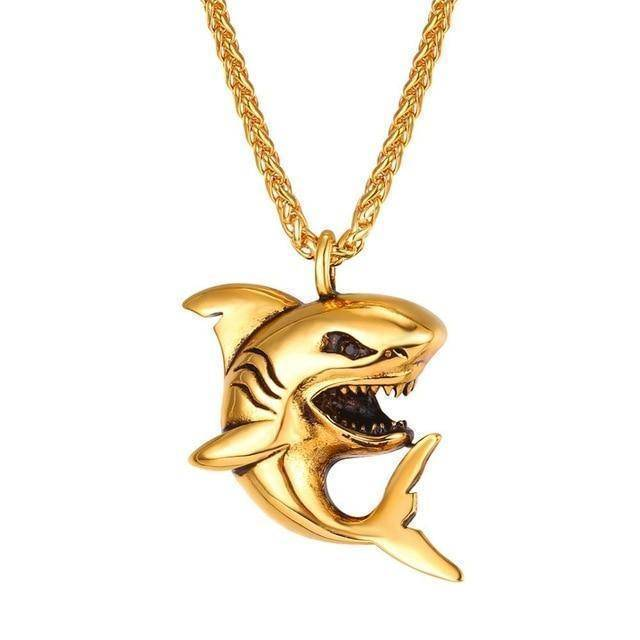 Fish-Trapp Chain Gold-color Stainless Steel Big Shark Pendant Necklace