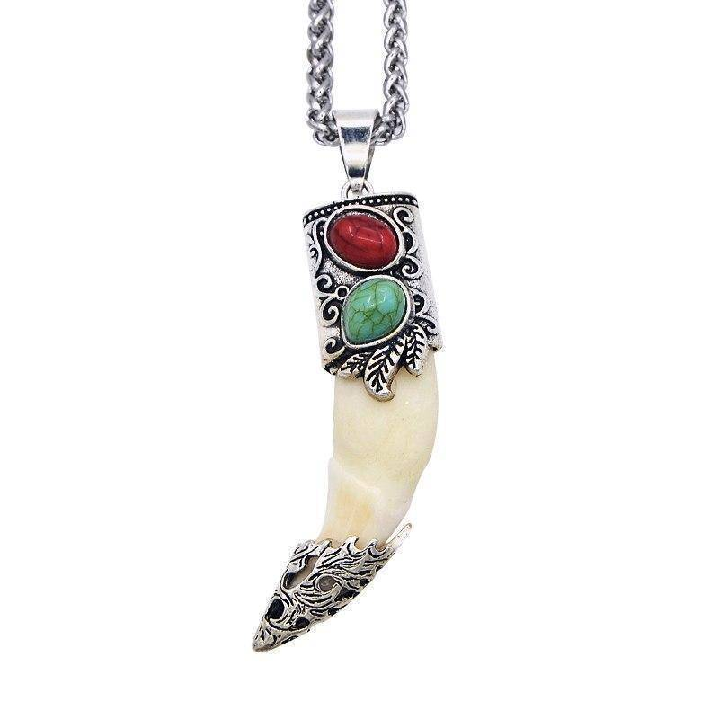 Fish-Trapp Chain Original Silver Wolf Tooth Pendant Necklace