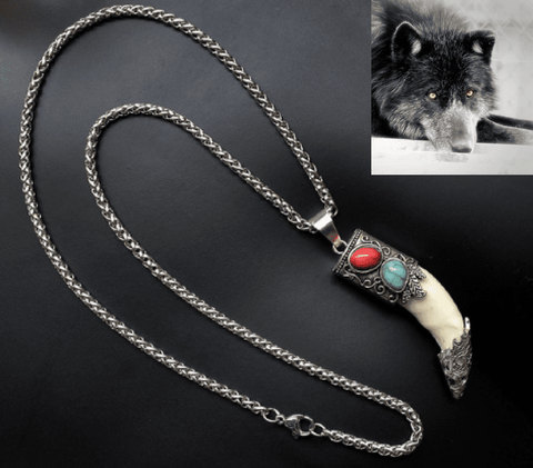 Image of Fish-Trapp Chain Silver Wolf Tooth Pendant Necklace