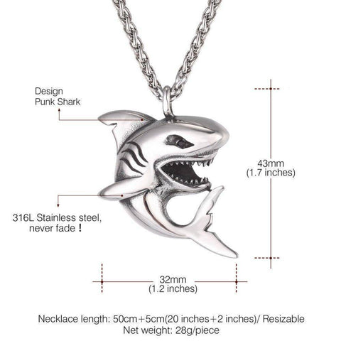 Image of Fish-Trapp Chain Stainless Steel Big Shark Pendant Necklace