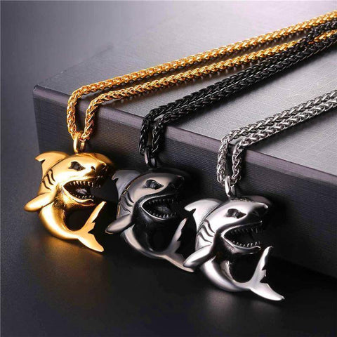 Fish-Trapp Chain Stainless Steel Big Shark Pendant Necklace